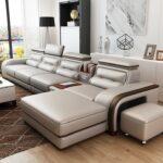 Luxury Sofa Set Design L Shape Leather White Smoke Color